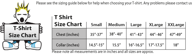 Shoebob T-shirt Size chart. Produced and Dispatched in the UK